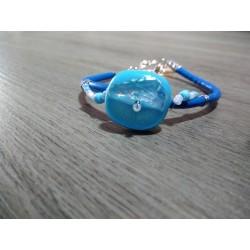 Bracelet bleu sur cuir, verre dichroïque artisanale sur cuir et acier inoxydable made in france vendée