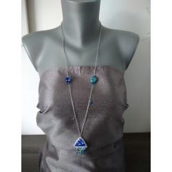 Sautoir bleu foncé et turquoise faïence sur acier inoxydable anallergique