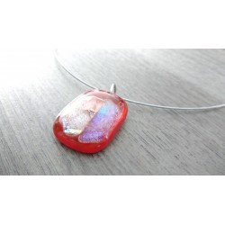 Transparent red pendant dichroic orange pink fusing glass creation handcrafted vendée