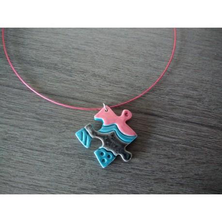Collier céramique puzzle blanc rouge