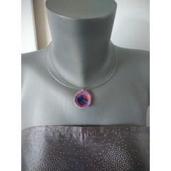 Collier faïence violet et verre fusionné création made in france