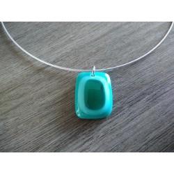 Pendentif verre fusing bleu turquoise créatrice vendée