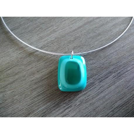 Pendentif verre fusing bleu créatrice vendée