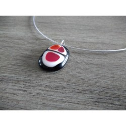 collier de verre fusing noir blanc et rouge