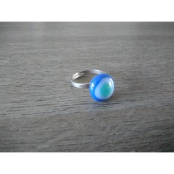 Ring green and blue fusing glass Julie and Co Creations