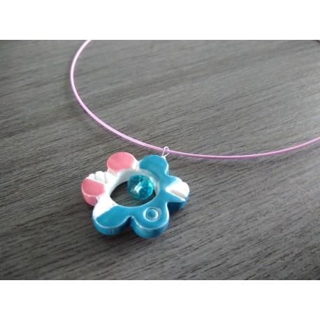 Pendentif fleur bleu et turquoise faïence blanche émaillé céramique artisanale made in france
