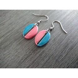 Boucles d'oreilles céramique turquoise et rose grain de café ovale