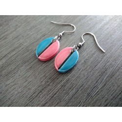 Turquoise ceramic earrings and pink oval coffee bean