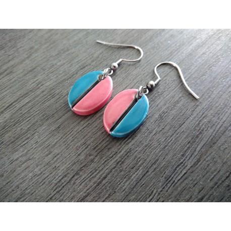 Boucles d'oreilles céramique turquoise