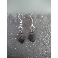 Boucles d'oreilles fantaisie céramique rondes terre noir