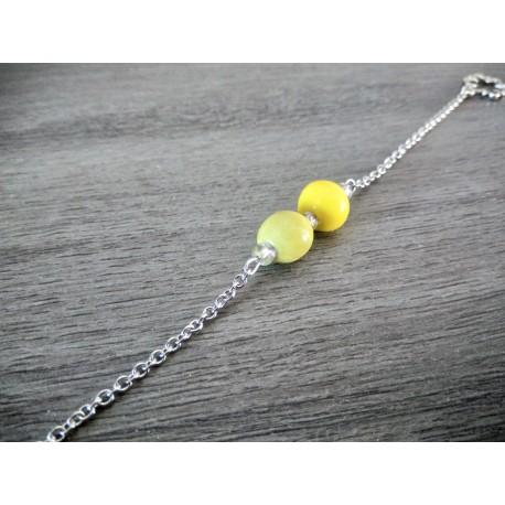 Bracelet vert jaune faïence artisanale sur chaine d'acier inoxydable made in france vendée