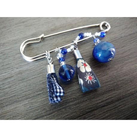 Sautoir bleu faïence sur acier inoxydable anallergique