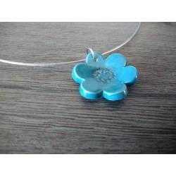 Turquoise blue flower pendant white earthenware enamelled ceramic craft made in france