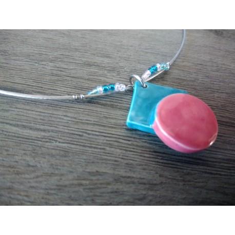 Pendentif géométrique rose et turquoise faïence blanche émaillé céramique artisanale made in france
