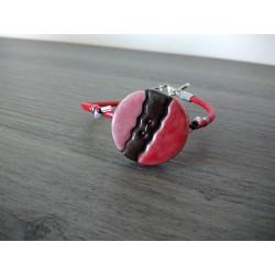 Bracelet rouge rose faïence noir artisanale sur cuir et acier inoxydable made in france vendée