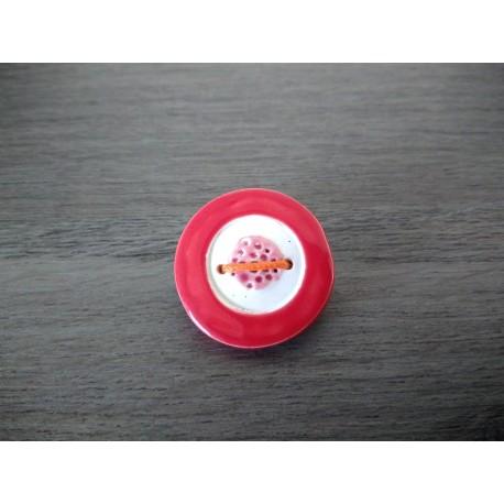 Broche rouge et noir coquelicot faïence artisanale sur cuir et acier inoxydable made in france vendée