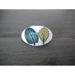 Broche ovales nature en faïence artisanale sur acier inoxydable made in france vendée