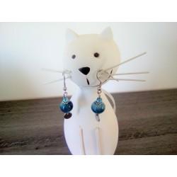 Turquoise ceramic stainless steel earthenware earrings