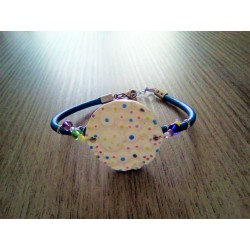 Colorful homemade earthenware bracelet on blue leather and stainless steel made in france vendée