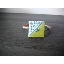Homemade earthenware turquoise bracelet on leather and stainless steel made in france vendée