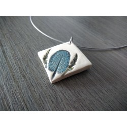 Handcrafted earthenware plain necklace on stainless steel made in france vendée