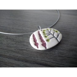 Handcrafted earthenware plain oval necklace on stainless steel made in france vendée
