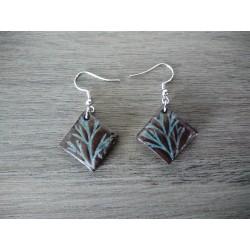 Boucles d'oreilles céramique marron et bleu feuille