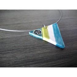 Collier céramique triangle turquoise vert sur acier inoxydable