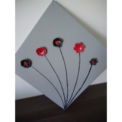 cadre céramique fleurs faïence rouge noir bleu acier inoxydable faïence sur toile peinte gris fabriqué en vendée