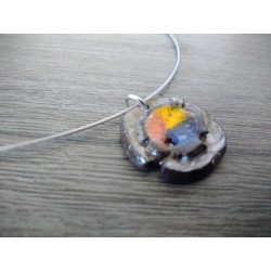 Nebulous pendant in black earthenware enamelled orange-red blue