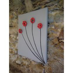 cadre céramique fleurs céramique rouge noir gris acier inoxydable faïence sur toile peinte fabriqué en vendée