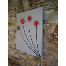 ceramic ceramic flower frame red black black stainless steel stainless steel on painted canvas made in vendée