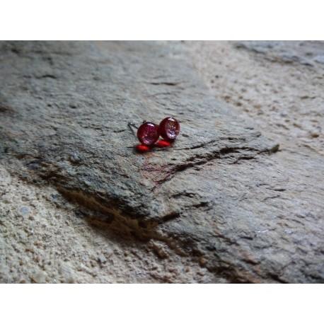 Boucles d'oreilles puce verre rouge et dichroic doré