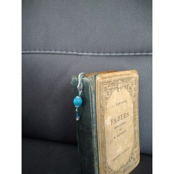 Ceramic turquoise and silver metal bookmark