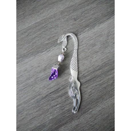 Marque-page violet céramique, tissus liberty fleuri et métal argenté