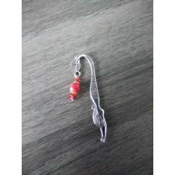 Marque-page rouge en céramique et métal argenté