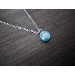 Pendentif turquoise effets en verre fusing dichroic création artisanale vendée