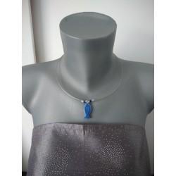 Pendentif fleur bleu turquoise faïence blanche émaillé céramique artisanale made in france