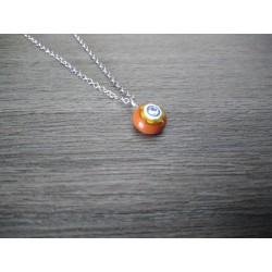 Petit pendentif de verre fusing millefiori marron créatrice bijoux artisanaux vendée