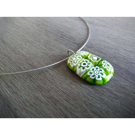 Pendentif verre fusing millefiori orange translucide créatrice bijoux artisanaux vendée