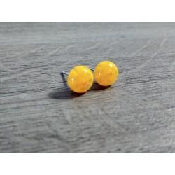 Boucles d'oreilles puce verre fusing millefiori jaunes