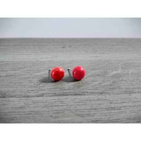 Earrings chip glass fusing millefiori red and white