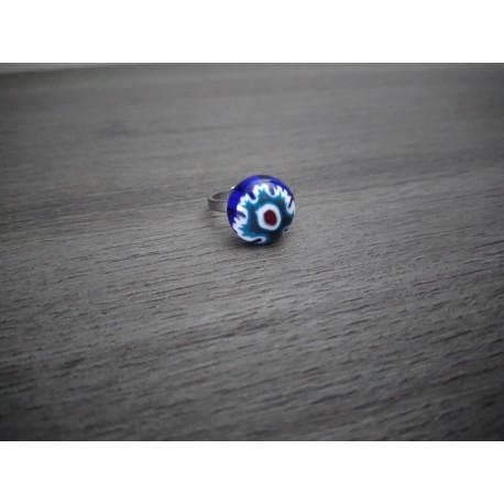 Ring glass fusing blue millefiori