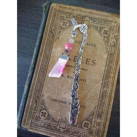 Ceramic pink and silver metal bookmark