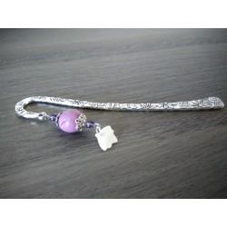 Marque-page violet en céramique et métal argenté