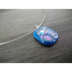 Light blue dichroic pendant with fusing glass reflection handmade vendée creation
