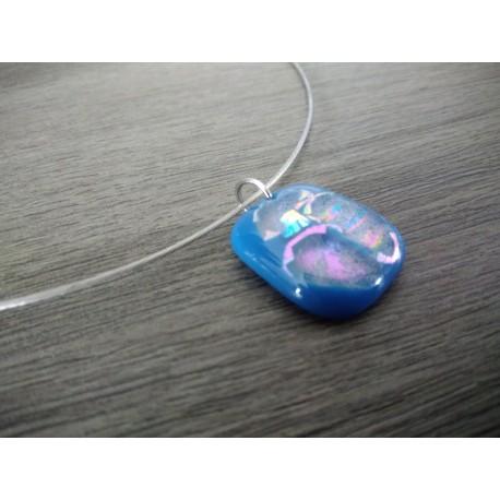 Light blue dichroic pendant with fusing glass reflection handmade vendée creation
