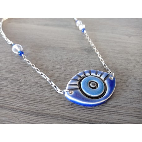 Blue and white turquoise ceramic necklace on stainless steel