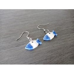 Oval-grey blue ceramic earrings