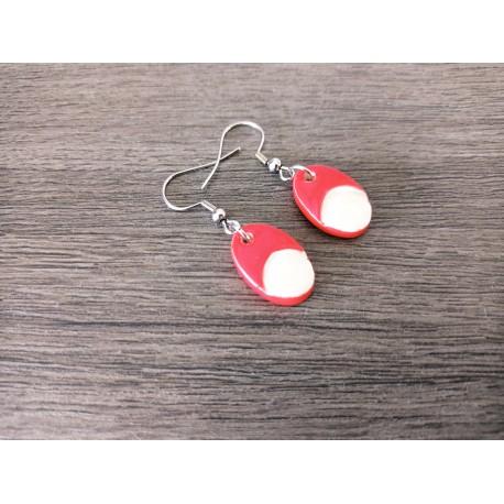 Fancy ceramic earrings half red moon